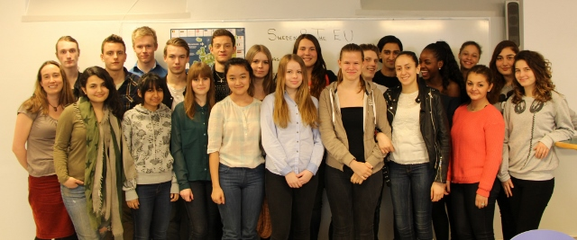 Student participants of 'Young Ideas for Europe' from IEGS with their teacher, Helen Quested (front row, left)